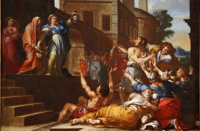 Girolamo Troppa (attr.) (Rocchetta Sabina 1630 c.-Roma dopo il 1706), Giuditta mostra la testa di Oloferne ai Betuliani
